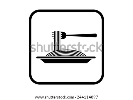 Spaghetti vector icon on white background - stock vector