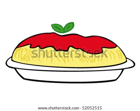 Spaghetti with tomato sauce and basil leaves on white dish. - stock vector