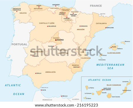 spain administrative map - stock vector