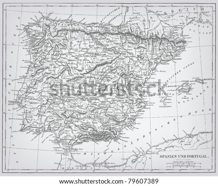 "Spain and Portugal, engraving vector map from ""The Complete encyclopedia of illustrations"" containing the original illustrations of The iconographic encyclopedia of science, literature and art, 1851. - stock vector"