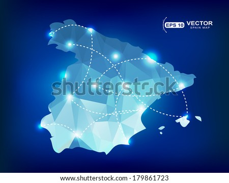 Spain country map polygonal with spot lights places - stock vector