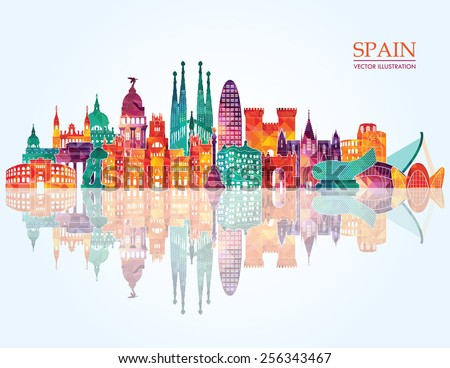 Spain detailed skyline. vector illustration - stock vector