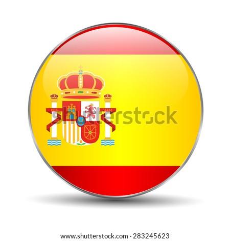 Spain Flag Glossy Button, - stock vector
