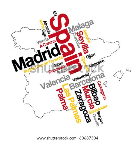 Spain map and words cloud with larger cities - stock vector