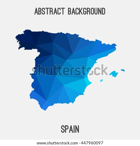 Spain map in geometric polygonal,mosaic style.Abstract tessellation,modern design background. Vector illustration EPS8 - stock vector