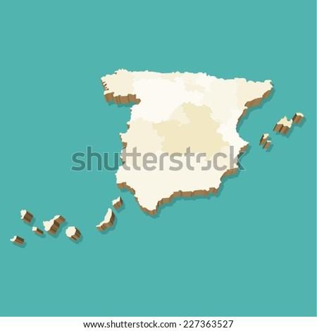 Spain Map Vector Three Dimensional - stock vector