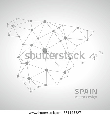 Spain outline map - stock vector