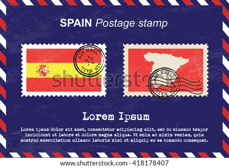 Spain postage stamp, postage stamp, vintage stamp, air mail envelope. - stock vector
