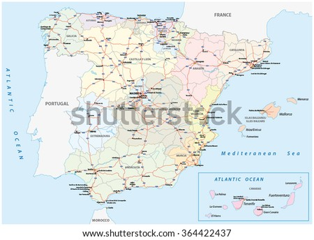spain road map - stock vector