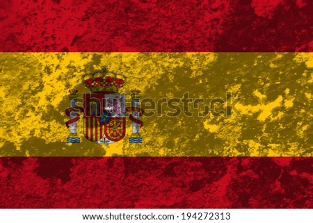 Spain, Spanish flag on concrete textured background - stock vector