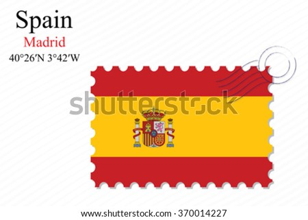 spain stamp design over stripy background, abstract vector art illustration, image contains transparency - stock vector