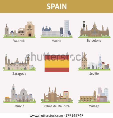 Spain. Symbols of cities. Vector set - stock vector