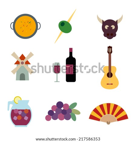 Spain vector icons set - stock vector