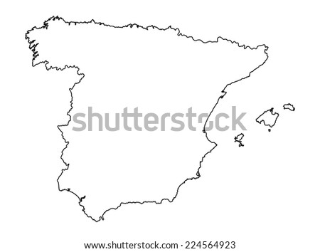 Spain vector map high detailed, isolated on white background. illustration. Outlined, contour.  - stock vector