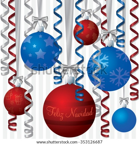 Spanish blue and red ribbon and bauble inspired Merry Christmas card in vector format. - stock vector