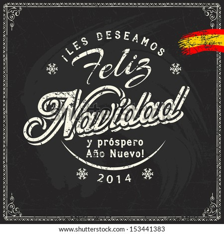Spanish chalk lettering of christmas and new year sale discount offers and greetings on blackboard - stock vector