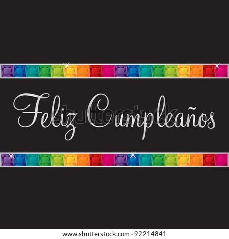 Spanish 'Happy Birthday' card in vector format. - stock vector