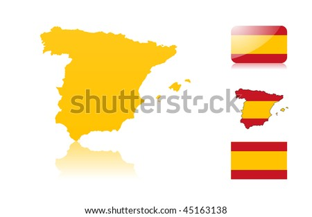 Spanish map including: map with reflection, map in flag colors, glossy and normal flag. - stock vector