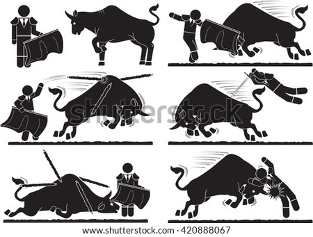 Spanish style bullfighting icon set - stock vector