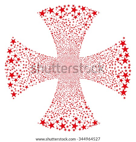 Sparkle Star Maltian Cross vector illustration. Style is red flat stars, white background. - stock vector