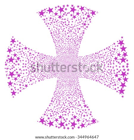Sparkle Star Maltian Cross vector illustration. Style is violet flat stars, white background. - stock vector