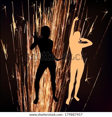 sparkler dancing girls. Vector  - stock vector