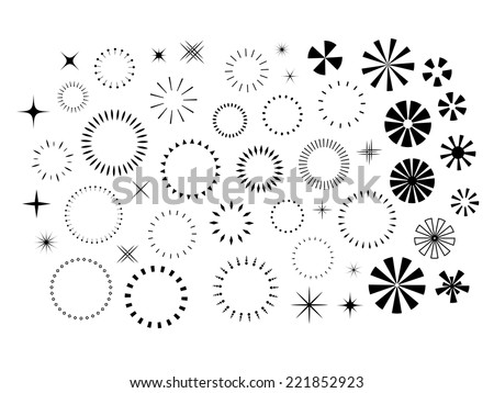Sparkles and Starbursts set - stock vector