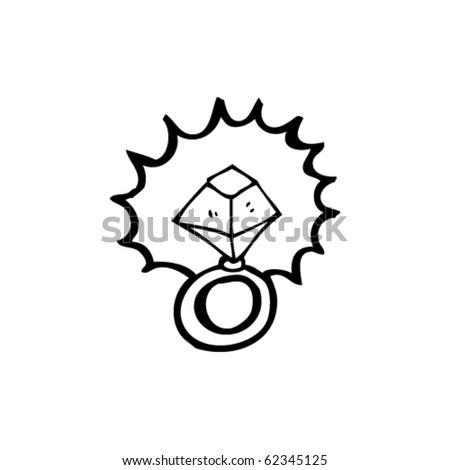 sparkling engagement ring cartoon - stock vector
