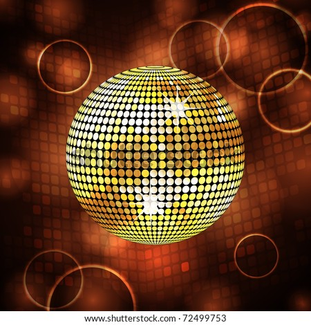 Sparkling gold disco ball and lens flares - stock vector