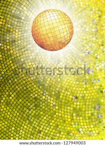 Sparkling gold disco ball on a light burst background with mosaic detail. EPS 8 vector file included - stock vector