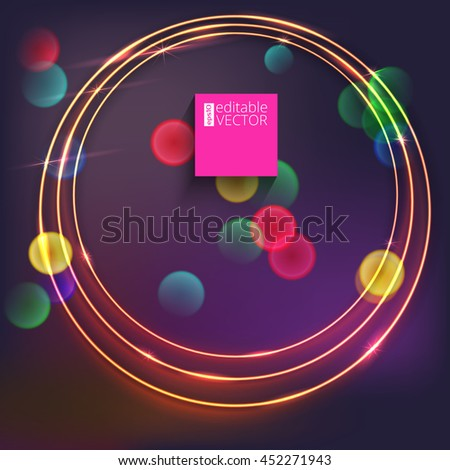 Sparkling golden glow rings, frame with light effect on dark background. Spark with ring glossy line, abstract vector composition. Great backdrop for the presentation, cover book or invitation cards - stock vector