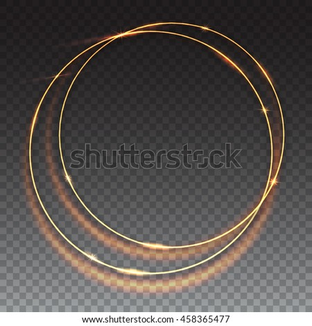 Sparkling golden glow rings, frame with light effect on transparent background. Spark with ring glossy line, abstract vector composition. Great backdrop for the wedding ceremony or invitation cards - stock vector