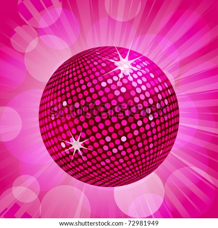 Sparkling pink disco ball on a pink background - stock vector