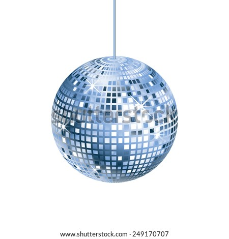Sparkling silver and blue disco ball isolated on white background - stock vector
