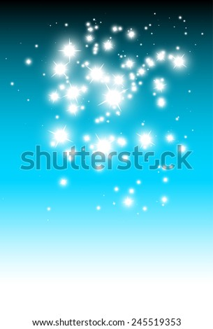 Sparkling stars over blue vector background template - Vector sparkles blue background illustration template - stock vector