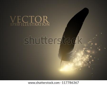 sparkling vector feather - stock vector