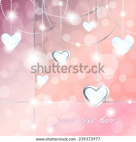 Sparkly banner with heart-shaped pendants (eps10); - stock vector