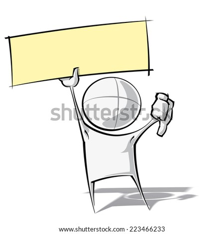 Sparse vector illustration of a of a generic cartoon character with thumbs down, holding up a label. - stock vector