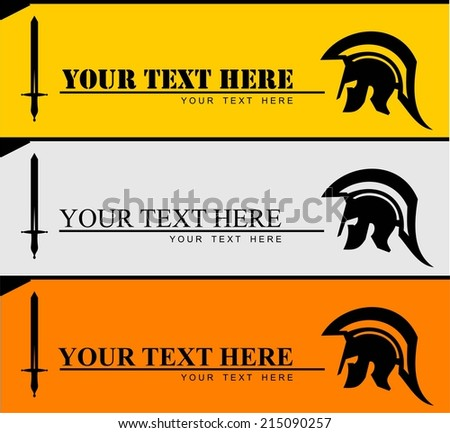 Sparta warrior head and sword combine with text. Spartan helmet and sword combine with horizontal text. Trojan helmet and sword. Warrior helmet. Historical Sparta concept icon. Ancient Greek helmet  - stock vector