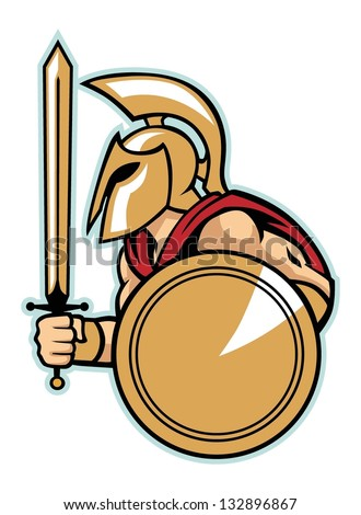 spartan army with shield - stock vector