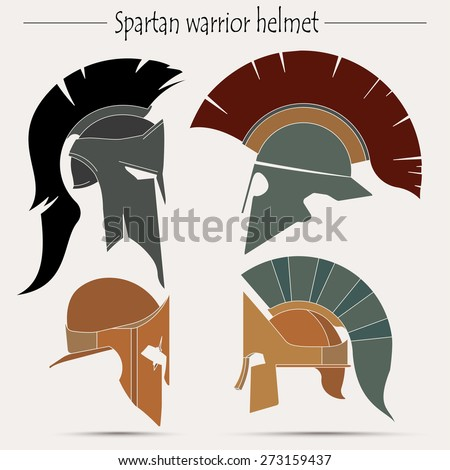 Spartan Helmet, Greek warrior, Gladiator,  legionnaire heroic soldier - vector - stock vector