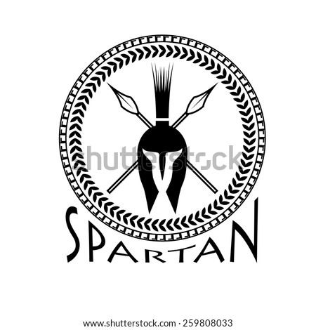 spartan helmet with spears and shield - stock vector