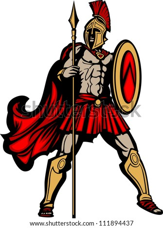 Spartan Mascot Body with Spear and Shield Vector Illustration - stock    Spartan Shield Clipart