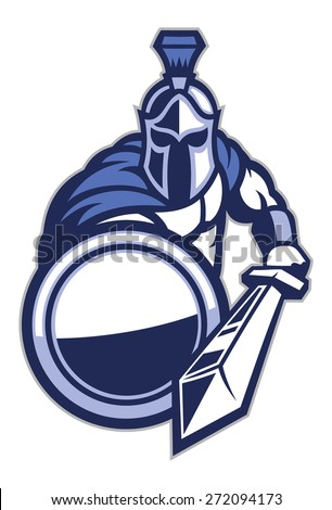 spartan mascot with shield and the sword - stock vector