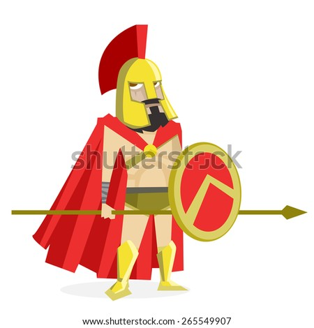 spartan soldier with his spear and shield - stock vector