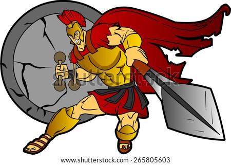 Spartan Trojan Roman Warrior Mascot Character  - stock vector