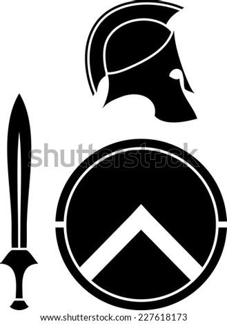 spartans helmet, sword and shield. stencil. vector illustration - stock vector