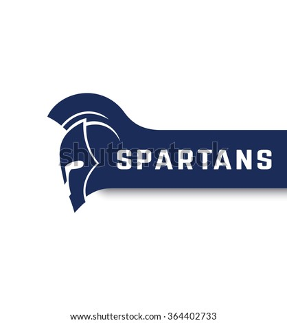 Spartans logo with warrior helmet with mohawk, vector illustration - stock vector