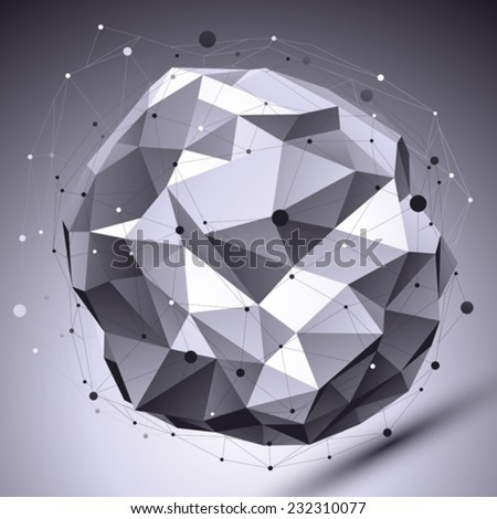 Spatial vector monochrome digital eps8 backdrop, dimensional contrast technology spherical element with wireframe placed over shaded background. - stock vector