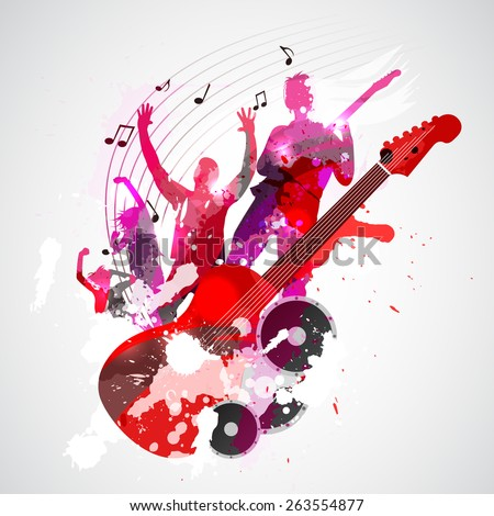 Spatter music background with guitar and concert silhouette - vector - stock vector
